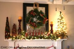 christmas-mantel-decorations-with-lovely-candle