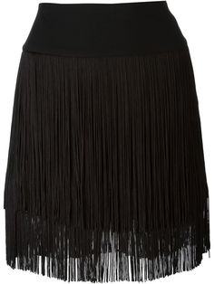I like fringe on clothing when it is fine and flapper-like, like this. Not country and western!! Dkny Fringed Mini Skirt - Il Bacio Di Stile - Farfetch.com