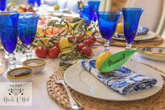La Dolce Vita Mediterranean Inspired Table Setting for Parties - Lemon, Blue and White Italian Themed Dinner Party Tablescape Dinner Themes, Party Themes, Party Ideas, Dinner Parties, Antipasto Plate, Beautiful Table Settings, Mediterranean Home Decor, Kitchen Themes, Birthday Dinners
