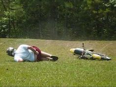 Funny video of guy crashing a Dirtbike, motorcycle crash epic fail fractured funny owned dirtbike jump fall accident.