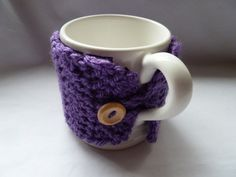 crochet mug cosy cozy  purple with wool uk seller by TWINKKNITS, £6.50