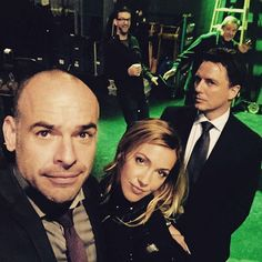 #ArrowSeason4Premiere tonight! Meanwhile on the #Arrow set today - Director #JohnBehring @katiecassidy @Team_Barrowman  AD @buntone @mrkbunting