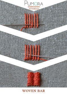 Pumora's embroidery stitch-lexicon: the woven bar