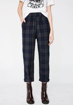 Sapphire Trend Settin' Plaid Pants cuz you're out here trail blazin'. These plaid pants have a cropped fit and pockets on the front N' back.  #DollsKill CurrentMood #boots #punk #grunge #warpedtour #JulietSimms