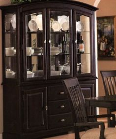 Brentwood Contemporary China Cabinet with Etched Glass Doors by ...