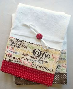 Kitchen towels with coffee and chocolate pattern cotton fabric in brown and red…