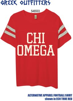 Greek Outfitters Chi Omega Alternative Apparel Football shirt #grafcow
