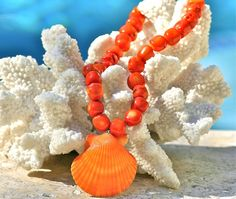 Fancy - Sasha Lickle Designs - Orange Coral & Pectin Shell Necklace