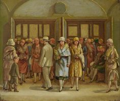 """""""Hearn's Department Store-Fourteenth Street Shoppers,"""" Isabel Bishop, 1927, oil on canvas, 9 1/2 x 11 1/2"""", Vero Beach Museum of Art."""