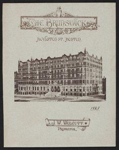 Menu for The Brunswick, hotel, Boylston Street, Boston, Mass., May 8, 1879   Ephemera collection (EP001) -- Historic New England