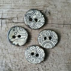 Bkack and White Ceramic Buttons, Ceramic Button Set, One Inch Ceramic Button…