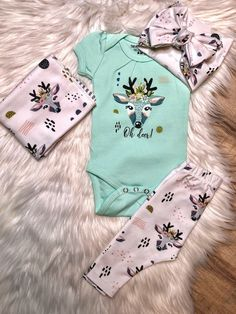 Dress your little one in this adorable Deer Onesie! The perfect shower gift for expecting mothers! Pair with our Oh Deer Onesie, burp cloth, and leggings. Baby Outfits, Toddler Outfits, Oh Deer, Baby Kind, Cute Baby Clothes, Baby Clothes For Girls, Babies Clothes, Baby Girl Fashion, Babies Fashion