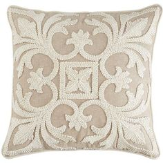 Coastal Embroidered Pillow - Natural