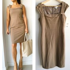 "NWT  New York & Company Beige Dress Brand new with tags! Perfect dress for the hard working women! Fits the body great, conquer your next business meeting in this dress! Has a little bit of stretch. Invisible back zipper. Measurements chest-36"" waist- 30"" hips-40"" length-39 "" material shell- 66% Polyester 30%rayon 4%spandex  lining 100% polyester. Fits true to size. New York & Company Dresses Midi"
