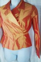 Talbots Collection 12 Solid Orange-Gold Long Sleeve Wrap Blouse/Jacket Silk Summer/Beach