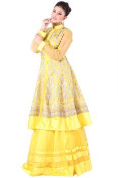 Yellow Silk and Net Lehnga- Silk and Net with Zari and Swaroski work