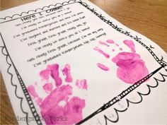 End of the year kindergarten handprint poem