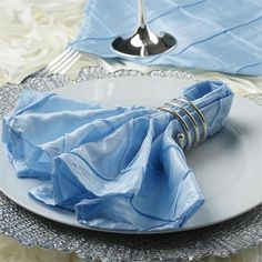 5/pk Napkins Pintuck - Serenity Blue | eFavorMart /  Pintuck is actually a fold of fabric that is stitched intricately to hold it in a place, very much like a pleat. These lovely pleats impart a decorative effect to the fabric by fashioning a visual line at a chosen point. They effortlessly bridge vintage and contemporary styles to create a majestic new classic look. If you do not want your celebration to blend in with other weddings, birthdays, and anniversaries, try our premium quality…