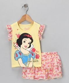 Take a look at this Yellow Snow White Top & Ruffle Skort - Toddler by Disney on #zulily today!