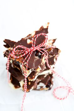 Spiced Pecan Triple Chocolate Bark - Made with Ghirardelli Semi-Sweet, White & 60% Cacao Chocolate | Garnish & Glaze