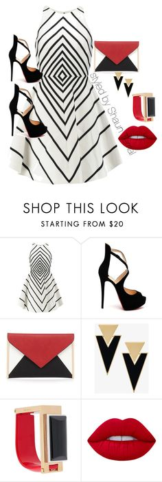 """""""Untitled #49"""" by shaunmyers ❤ liked on Polyvore featuring Halston Heritage, Christian Louboutin, Red Herring, Yves Saint Laurent, Marni and Lime Crime"""
