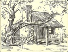 Adorable ranch house begging me to draw it!