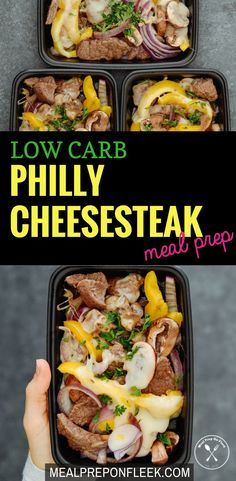 Healthy Meals Low Carb Philly Cheesesteak Meal Prep - A fast, simple and flavorful recipe that is made with low carb ingredients. Gluten free and keto too! Lunch Recipes, Low Carb Recipes, Diet Recipes, Healthy Recipes, Zoodle Recipes, Tilapia Recipes, Spiralizer Recipes, Diet Tips, Recipies