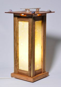 Bocote with rice paper lamp. Veneer top with agate transparency