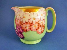 Gray's Pottery Art Deco Pink and Green Floral Jug c1932