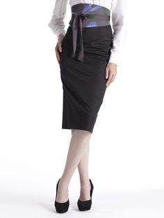jupe crayon noire ceinture