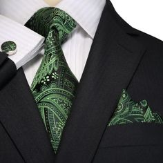 """3PC Silk Necktie Set Color: Green and Black Paisley 59"""" Length, 3.25"""" Width"""