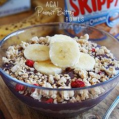 Acai Banana Peanut Butter Bowl. Perfect vitamin-packed breakfast//In need of a detox? Get 10% off using our discount code 'pinterest20' at www.StayLeanTea.com.au