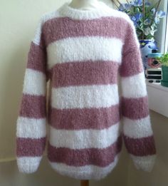 e31dd763419e Hand Knitted Luxurious Soft Mohair Striped Sweater by Bexknitwear