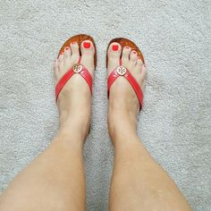 Tory Burch sandals Tory Burch hot pink sandals gold emblem some scratches leather soles in good condition have been worn smoke-free pet-free home majority of where a tip suerto is a non leather soles everything is intact not going to break still have a lot of wear left in them Tory Burch Shoes Sandals