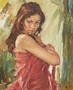 Oljemålning, Charles Roka (1912-1999), Ungern. Kvinna, signerad, 80x64, liten dukskada. Charles Roka, (på Ungerska: Károly Róka), född 1912, död 1999, Ungersk målare.. Såldes på auktion.