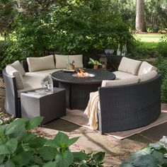 Belham Living Meridian Wicker Chat Set With Round Weave Fire Pit   Fire Pit  Patio Sets