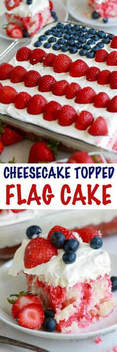 Flag Cake with Cheesecake Topping is the perfect dessert for your 4th of July parties! The recipe comes together easily with your favorite white boxed cake mix and the addition of a few simple ingredients. The cheesecake topping on this cake will have everyone asking for the recipe. It's rich and light at the same time without being overly sweet!