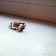 Engagement Ring Blue Topaz Gemstone Ring Stacking Rings