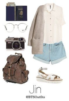 """Traveling the World with Jin"" by btsoutfits ❤ liked on Polyvore featuring Royce Leather, MANGO, H&M, Ray-Ban and Geox"