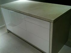 Concrete Wrapped Kitchen Island with Faktum Cabinets