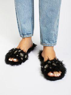 Jeffrey Campbell Studded Faux Fur Slide Outlet Exclusive Sale Visa Payment TV3oUZJ
