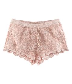 Shorts $24.95  Description    Crocheted shorts featuring an elasticized waistband and drawstring with skull-shaped beads at the ends. Lined.