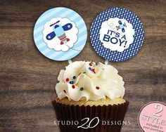"Instant Download 2"" Blue Airplane Cupcake Toppers, Printable Boy Baby Shower Cupcake Toppers, It's A Boy Shower Pops, Aviation Toppers #37A - http://babyshowercupcake-toppers.com/instant-download-2-blue-airplane-cupcake-toppers-printable-boy-baby-shower-cupcake-toppers-its-a-boy-shower-pops-aviation-toppers-37a/"