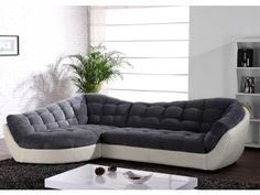 Canapé d'angle tissu et cuir LEANDRO - Gris et blanc ivoire - Angle gauche