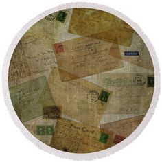 Old Round Beach Towel featuring the photograph Vintage Postcards Square by Edward Fielding