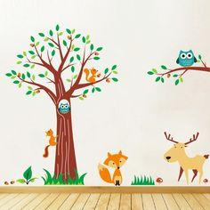 Mega Pack Woodland Animals & Tree Nursery Wall Art Decal,wall stickers - PD312 | eBay