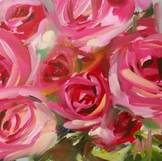 Pink Roses no. 27 original floral still life oil painting by moulton 5 x 5 inches on panel  prattcreekart