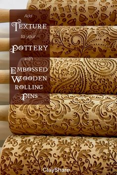 Embossed wooden rolling pins are a fantastic way to add gorgeous texture to you pottery. Follow ClayShare for more pottery tutorials, projects, tips and techniques.