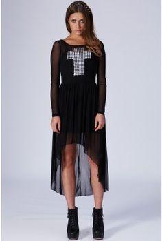 Stud Cross Mesh Dress - Party Dresses - Clothing