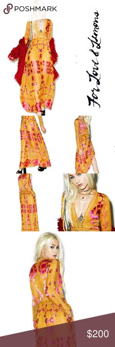 For ❤️ and 🍋's Barcelona maxi dress in old gold NWOT Gorgeous the chic cosmopolitan destination bb. This stunning maxi dress features an enchanting embroidered print inspired by Spanish tile on super soft smooth golden yellow material with delicate caged lace trim that provides sensual peeks of skin along the bodice and down yer arms. Featuring a plunging neckline, concealed back zipper closure and skirt that flows like the Barcelona breeze.  Materials: 50% polyester, 50% rayon;Lining: 90%…